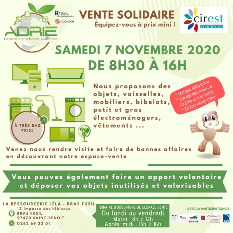 Affiche vente solidaire Bras Fusil 7 novembre 2020