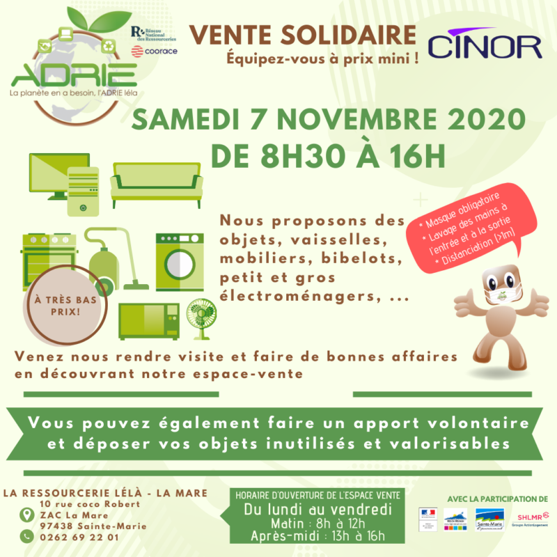 Affiche Vente solidaire La Mare 7 novembre 2020